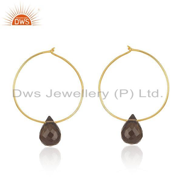 Smoky Quartz Gemstone Gold Plated 925 Silver Hoop Earring Wholesale