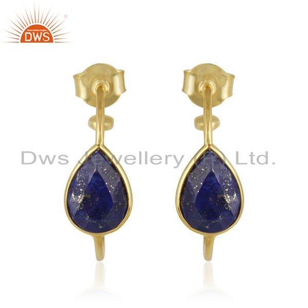 New look Yellow Gold Plated 925 Silver Natural Lapis Lazuli Gemstone Indian Hoop Earrings Gemstone Jewelry