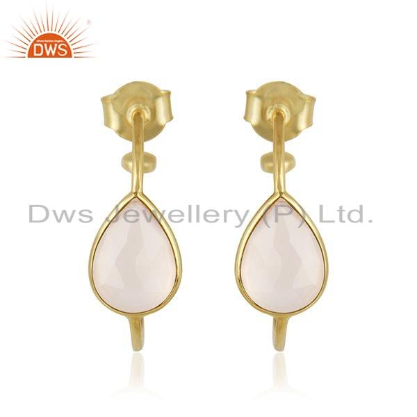 Gold Plated 925 Silver Rose Chalcedony Gemstone Earrings Jewelry