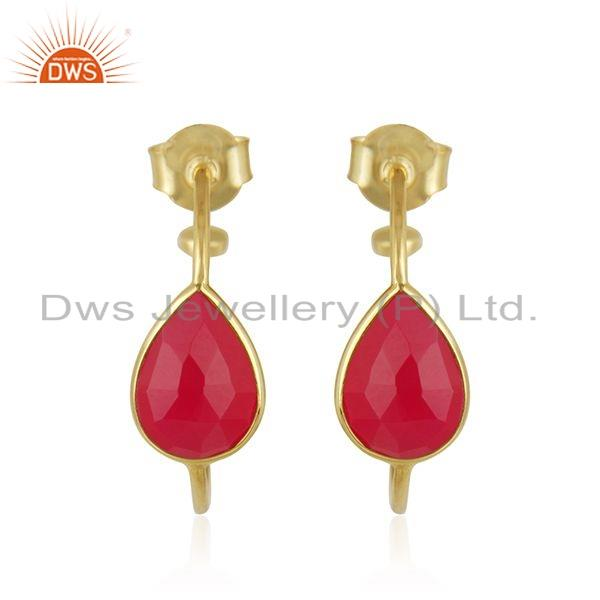 Pink Chalcedony Gemstone 18k Gold Plated 925 Silver Earrings Jewelry