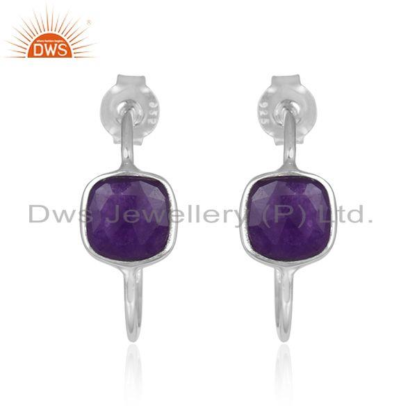 Fine Sterling Silver Aventurine Gemstone Hoop Earrings Manufacturer