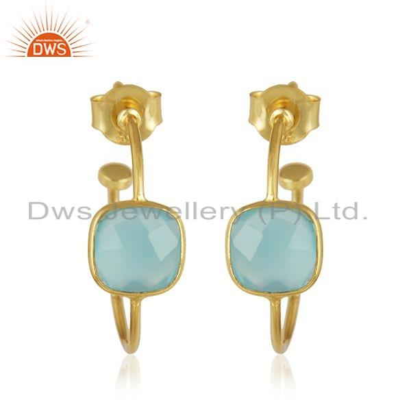 Natural Aqua Chalcedony Gemstone Handmade Gold Plated Designer Silver Hoop Earrings Jewelry