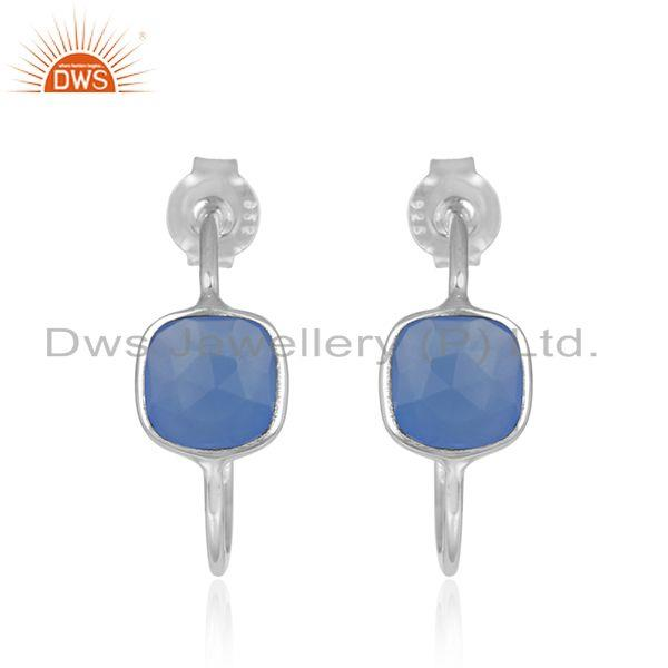 Blue Chalcedony Gemstone 92.5 Sterling Fine Silver Hoop Earrings