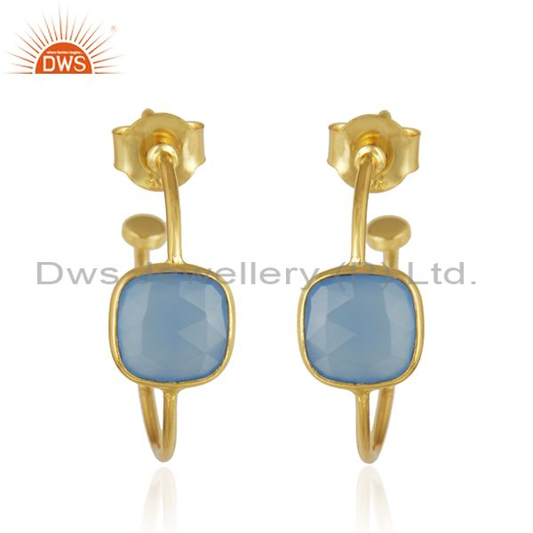 Blue Chalcedony Gemstone Gold Plated 925 Silver Girls Earrings Jewelry