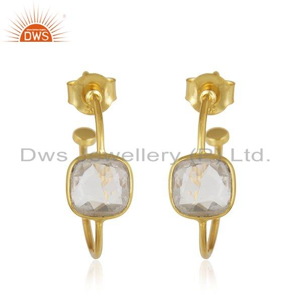 Natural Crystal Quartz Gemstone Womens Gold Plated 925 Silver Hoop Earrings Jewelry For Womens