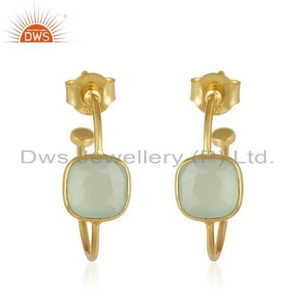 Prehnite Chalcedony Gemstone Wholesale Designer Yellow Gold Plated Silver Hoop Earrings For Girls Jewelry