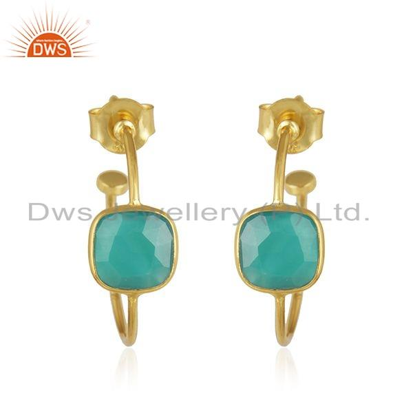 Green Onyx Gemstone Designer Gold Plated 925 Silver Earrings Jewelry