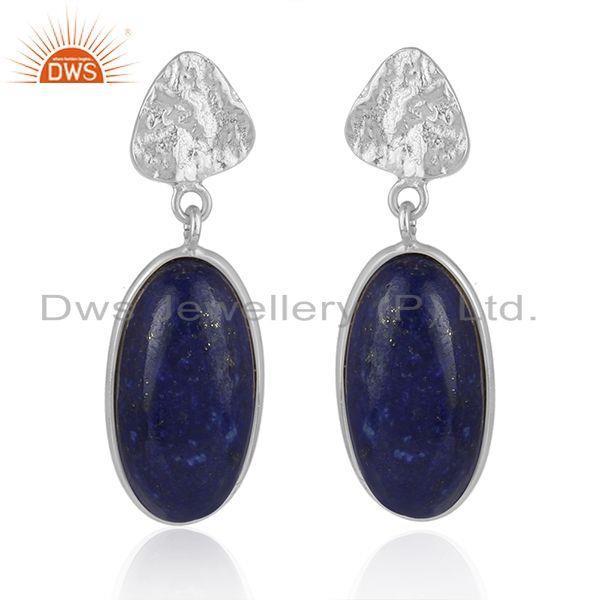 Handmade Fine Sterling 925 Silver Lapis Lazuli Gemstone Earrings