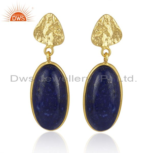 Lapis Lazuli Gemstone Handmade Gold Plated 925 Sterling Silver Earring