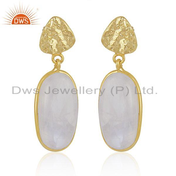 Rainbow Moonstone Handmade Gold Plated 925 Sterling Silver Earrings