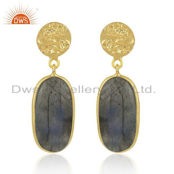 Labradorite Gemstone Yellow Gold Plated 925 Sterling Silver Earrings