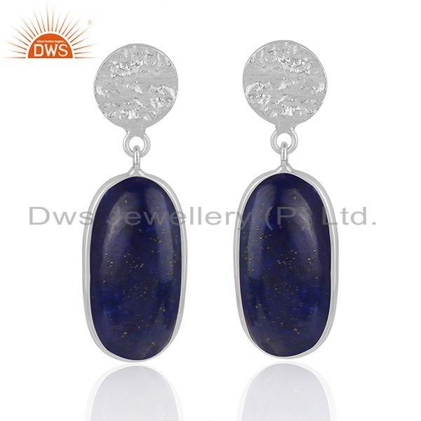 Natural Lapis Lazuli Gemstone Fine Sterling Handmade Silver Earrings