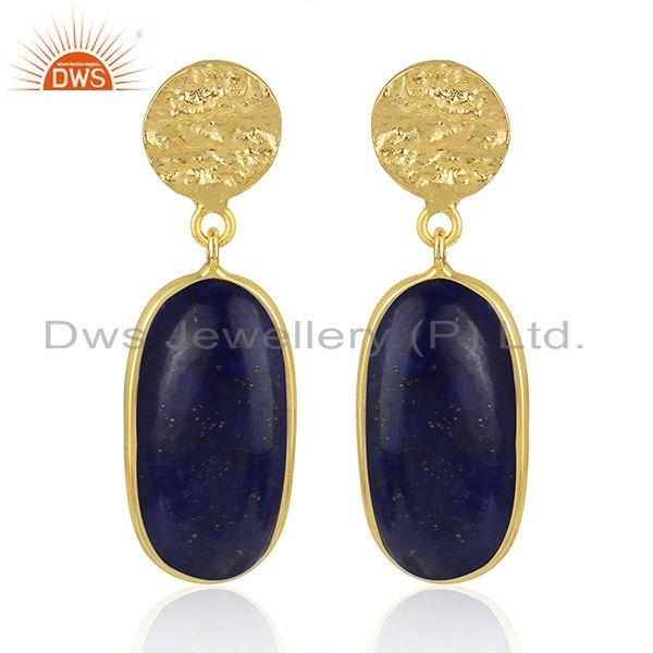 Lapis Lazuli Gemstone Handmade Yellow Gold Plated 925 Silver Earrings