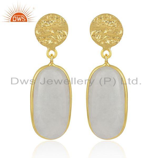 Handmade 925 Sterling Silver Gold Plated Rainbow Moonstone Earrings