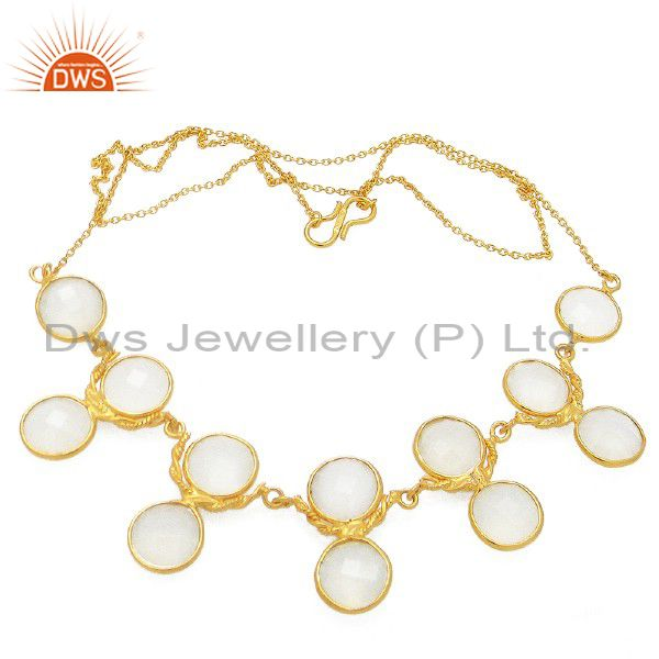 18K Yellow Gold Plated Sterling Silver White Chalcedony Bezel Set Necklace