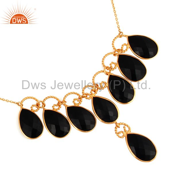 Handmade Faceted Black Onyx Gemstone Twisted Wire Yellow Gold Plated Necklace