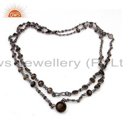 Oxidized Sterling Silver Smoky Quartz Gemstone Bezel Set Chain Necklace