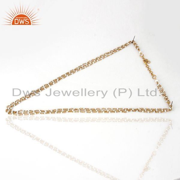 18K Gold Plated Sterling Silver Whitel Pearl Beaded Three Layered Chain Necklace