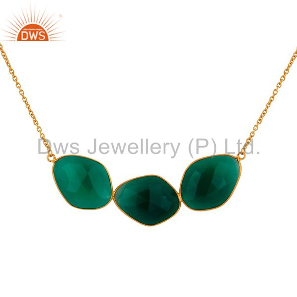 Large Fancy Green Onyx Sliced Necklace In 18K Gold Over Sterling Silver Jewelry