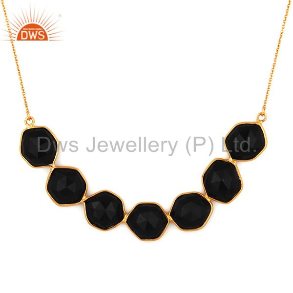 Handmade 925 Sterling Silver Black Onyx Faceted Gemstone Gold Plated Necklace
