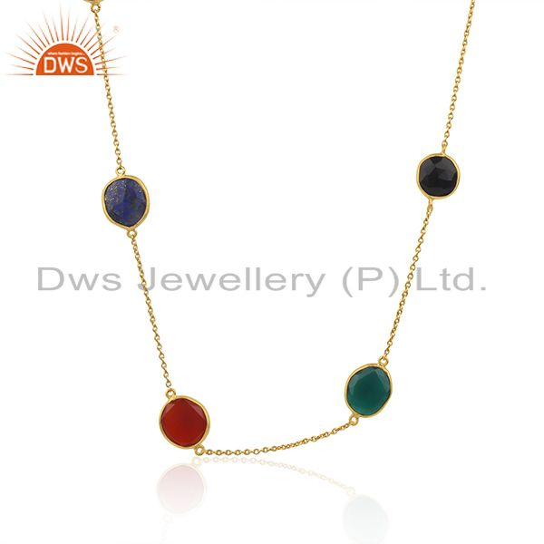 Onyx Multi Onyx Long Chain Station Gold Plated 92.5 Sterling Silver Necklace