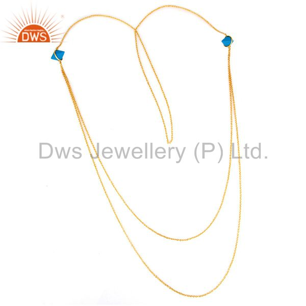 18K Gold Plated Sterling SIlver Turquoise Necklace Beautiful Designed Piece