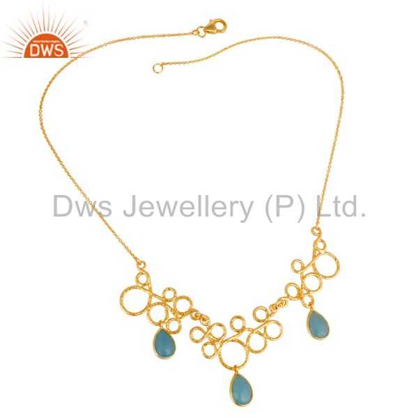 14K Gold Plated 925 Sterling Silver Handmade Dyed Chalcedony Designer Necklace