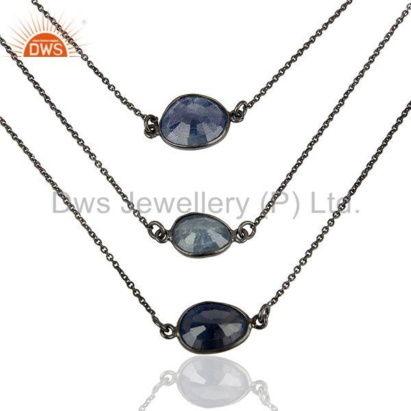 Natural Blue Sapphire Gemstone 925 Silver Chain Necklace Jewelry