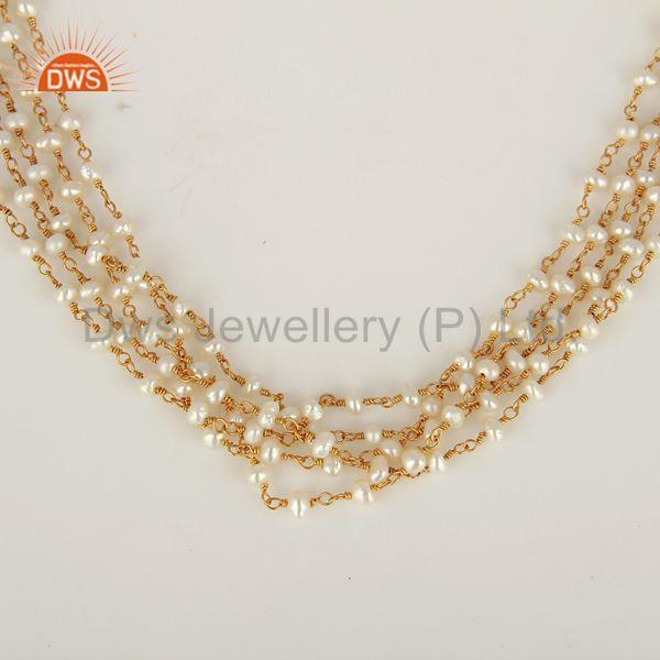Gold Plated Natural Pearl Gemstone Beads Necklace Jewelry Supplier
