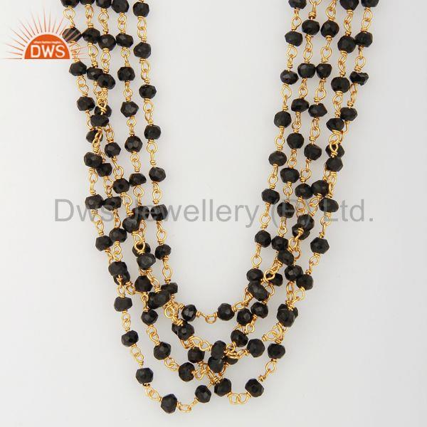 Natural Black Onyx Gemstone Beads Gold Plated Silver Necklace Jewelry