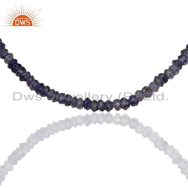 Iolite Gemstone Design Gold Plated Silver Necklace Jewelry Manufacture