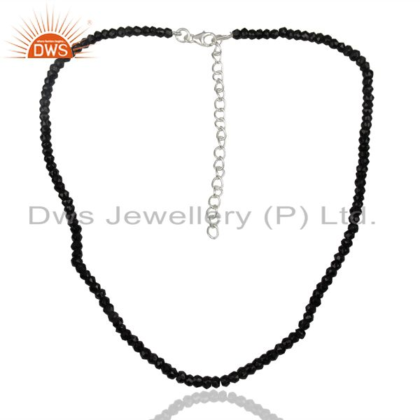 Black Spinal Gemstone Sterling Silver Womens Necklace Jewelry Supplier