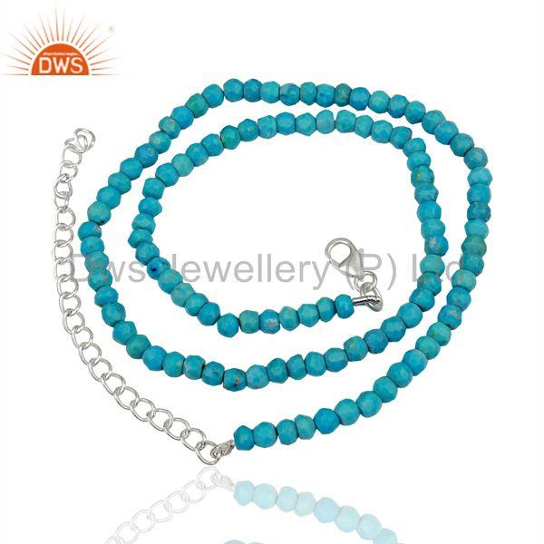 Natural Turquoise Gemstone Sterling Silver Fashion Necklace Jewelry