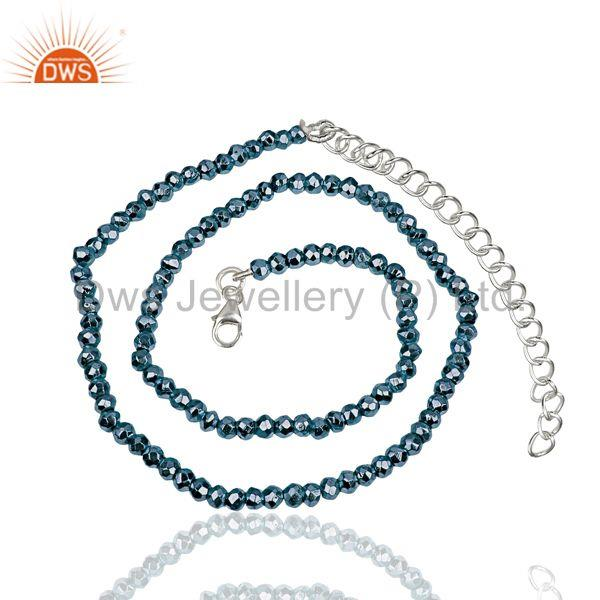 Blue Pyrite Gemstone 925 Sterling Fine Silver Chain Necklace Jewelry