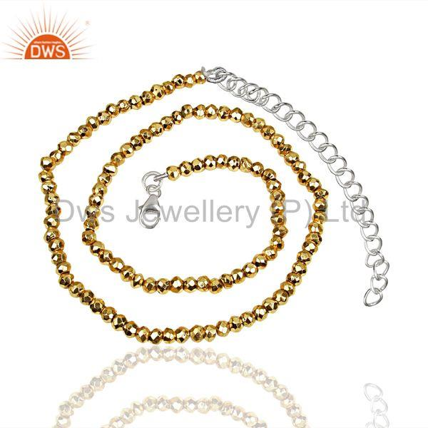 Gold Pyrite Beads Gemstone Sterling Silver Chain Necklace Supplier