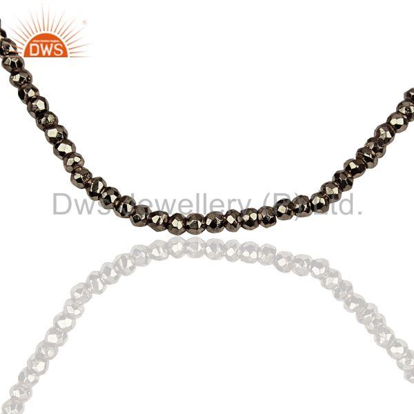 Metal Pyrite Gemstone Beads Silver Fine Chain Necklace Jewelry