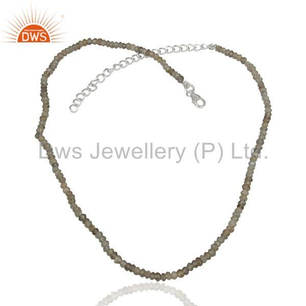 Gray Moonstone Sterling Silver Fashion Chain Necklace Manufacturer
