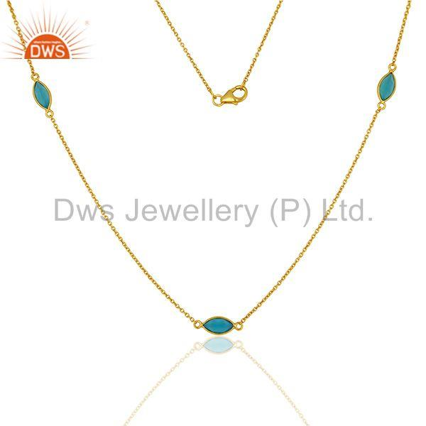 Wholesale Blue Chalcedony Gemstone Sterling Silver Necklace Supplier
