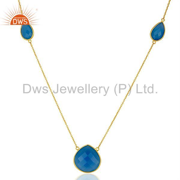 IndianBlue Chalcedony Gemstone Gold Plated Chain Necklace Wholesale