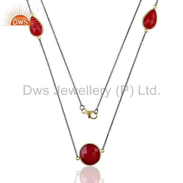 Wholesale Pink Chalcedony Gemstone Sterling Silver Necklace Jewelry
