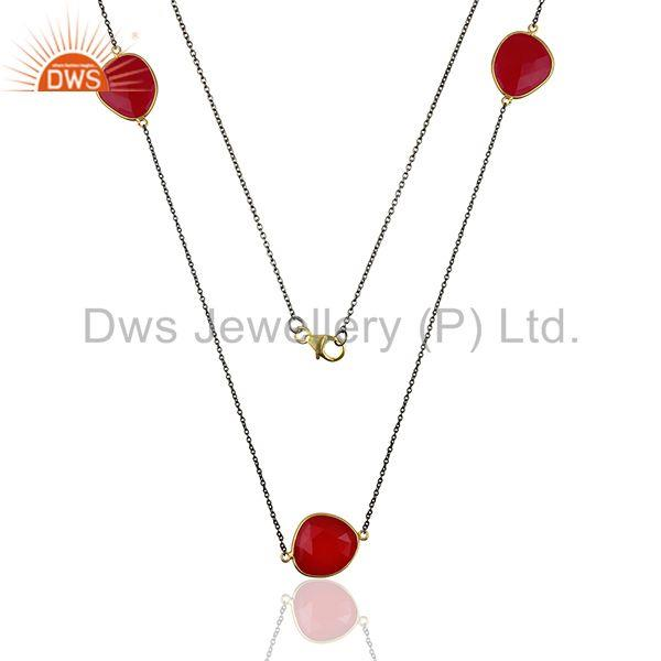 Indian Designer 925 Silver Pink Chalcedony Gemstone Necklace Jewelry