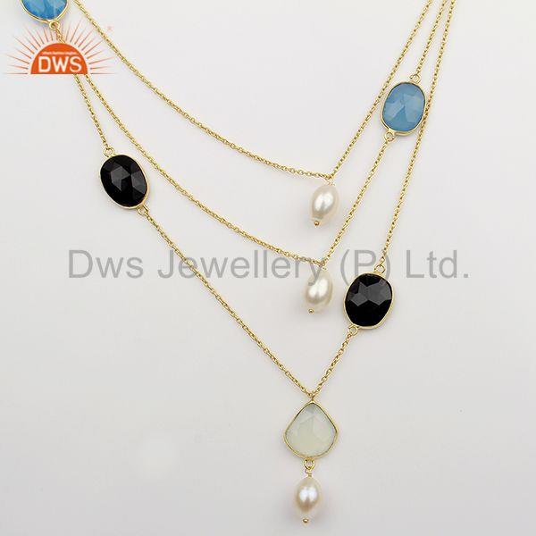 Solid 925 Sterling Silver Multi Gemstone Chain Necklace Supplier