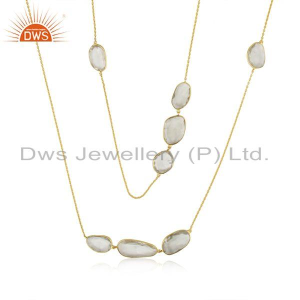 Gold Plated 925 Silver Green Amethyst Gemstone Chain Necklace Manufacturer