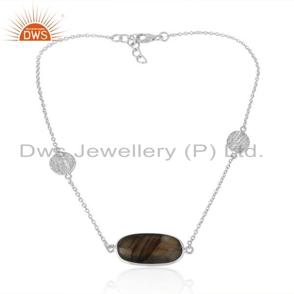 Natural Labradorite Gemstone Sterling Fine Silver Designer Necklace