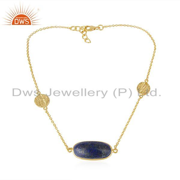 Lapis Lazuli Gemstone Handmade Gold Plated 925 Silver Necklace Jewelry