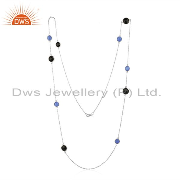 Blue Chalcedony and Onyx Black Gemstone 925 Silver Necklace Wholesale
