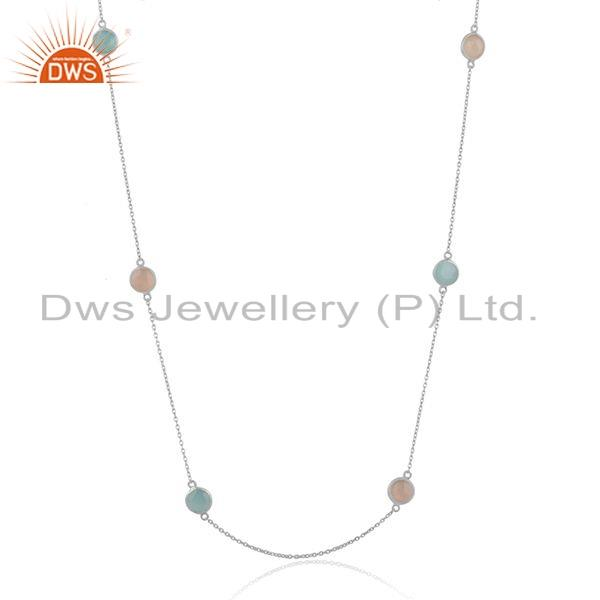 Chalcedony Rainbow Moonstone 925 Fine Silver Chain Necklace Jewelry