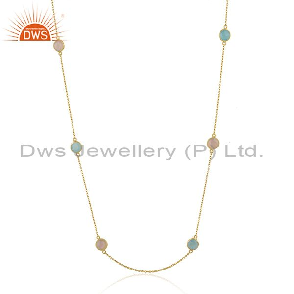 Rose and Aqua Chalcedony Gemstone 18k Gold Plated Silver Chain Necklace Jewelry