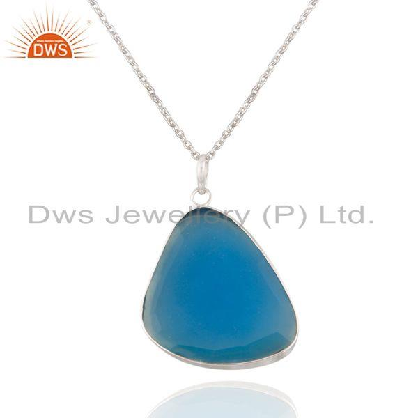 """925 Solid Sterling Silver Aqua Chalcedony Gemstone Bezel Set Pendant With 16"""" Ch"""