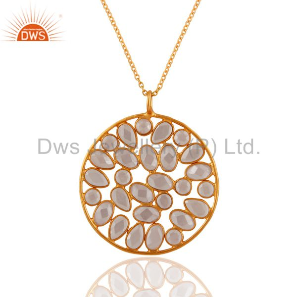18K Yellow Gold Plated On Sterling Silver White Zircon Designer Pendant Necklace